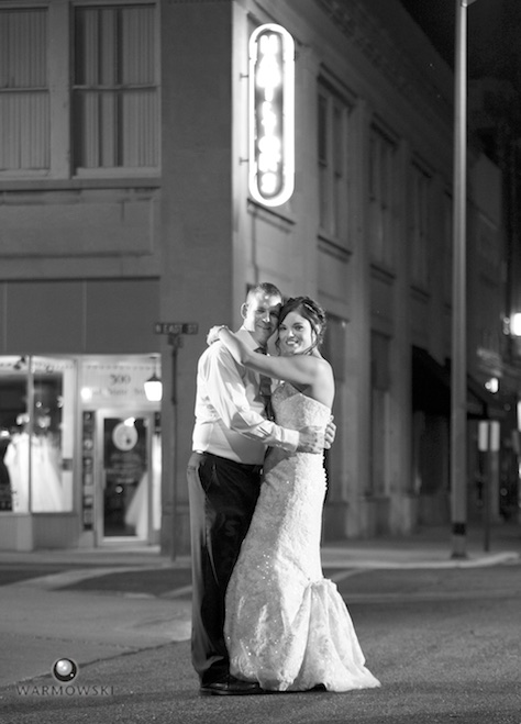Outside Hamilton's 110 North East. Wedding photography by Steve & Tiffany Warmowski.