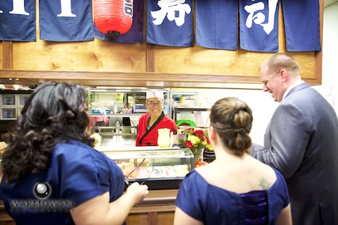 Checking in with Hiro, Happy Sushi in Springfield. Wedding photography by Steve of Warmowski Photography.
