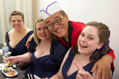 Hiro with groomswomen, Happy Sushi in Springfield. Wedding photography by Steve of Warmowski Photography.