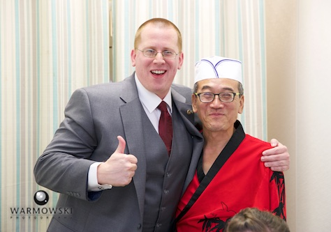Ryan with Hiro, Happy Sushi in Springfield. Wedding photography by Steve of Warmowski Photography.