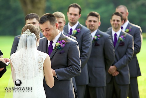 Amanda & Nick's wedding, exchanging rings, Jacksonville Country Club. Photo by Steve & Tiffany of Warmowski Photography.