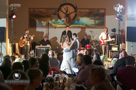 Lizzie & Brandon's first dance as the St. Louis Band the Well Hungarians play. Wedding photography by Steve of Warmowski Photography.