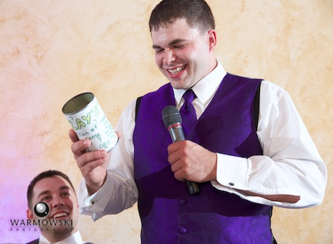 "Best Man Clay uses ""can on common sense"" the groom gave to him while they were in high school, toast during wedding reception at the Jacksonville Country Club. Photo by Steve & Tiffany of Warmowski Photography."