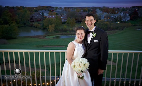 Elizabeth & Daniel on the balcony overlooking the golf course at Crystal Tree Country Club, Orland Park. Wedding photography by Tiffany & Steve & Warmowski.