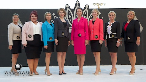 Morgan County Fair Queen contestants in suits (from left) Paige Hamilton, Marrion Ore, Autumn Browning, Blaire Long, Cassidy Crow, Jessica Shucker, Taylor Zoerner and Breann Burt.
