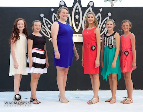 Morgan County Fair Junior Miss contestants in dresses (from left) Camille Brown, Rylie Bettis, Marlee Shumaker, Abigayle Lewis, Brooklyn Clayton, and Kaylee Ford.