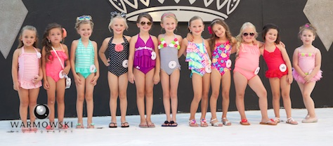 Morgan County Fair Princess contestants in bathing suits.