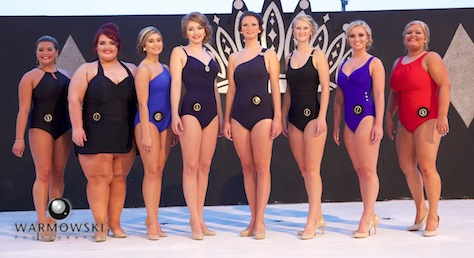 Morgan County Fair Queen contestants in bathing suits (from left) Paige Hamilton, Marrion Ore, Autumn Browning, Blaire Long, Cassidy Crow, Jessica Shucker, Taylor Zoerner and Breann Burt.