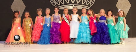 Morgan County Fair Princess contestants in dresses.