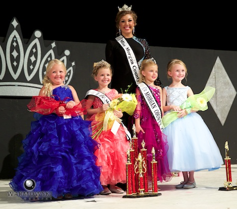(From left) 2016 Morgan County Fair Princess contest winners 1st Runner Up Grace Chambers, 2016 Princess Olivia Haverfield, 2015 Queen Abby Tomhave/2015 Princess Naveah Benz, and 2nd Runner Up Carson DeLong.