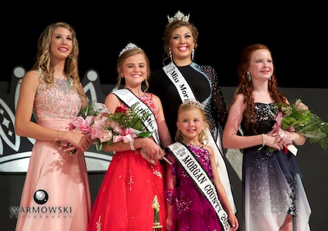 (From left) 2016 Morgan County Fair Junior Miss contest Abigayle Lewis 1st Runner Up (and People's Choice), Junior Miss Kaylee Ford, 2015 Queen Abby Tomhave/Princess Naveah Benz, and 2nd Runner Up Camille Brown.