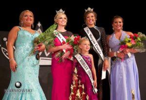 (From left) 1st Runner Up Breann Burt, 2016 Morgan County Fair Queen Taylor Zoerner, 2015 Morgan County Fair Queen Abby Tomhave, 2nd Runner Up (and Best Speech) Paige Hamilton.